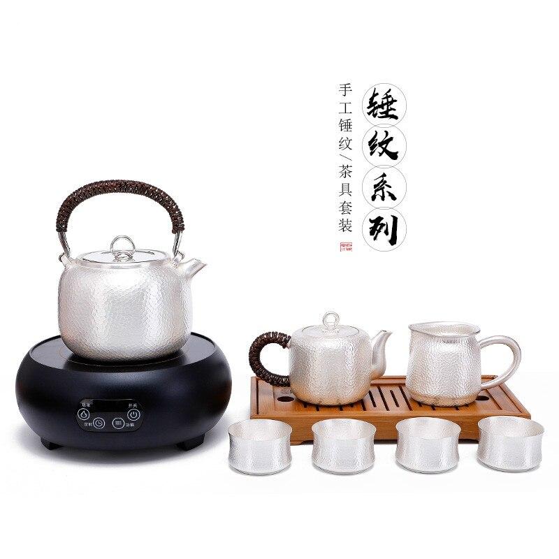 Sterling Silver 999 Silver Tea Set Set Handmade Silver Teapot Tea Cup Kettle Household Kung Fu Tea Set Complete Set Silver