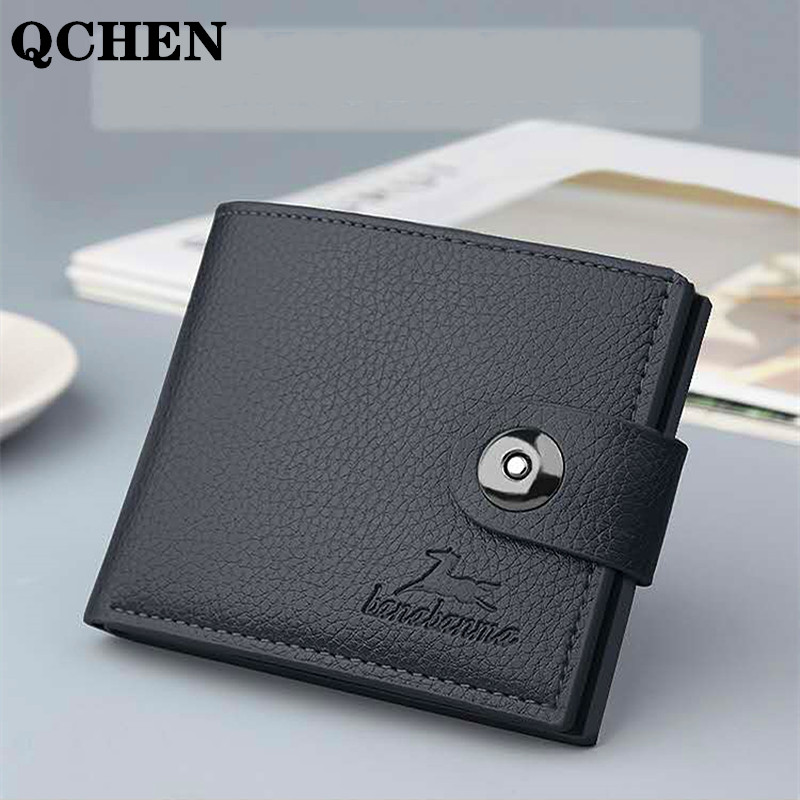 Men's Wallet Short Horizontal NEW Wallets Men British Casual Multi-function Card Bag Magnetic Buckle Retro Triangle Folding 644