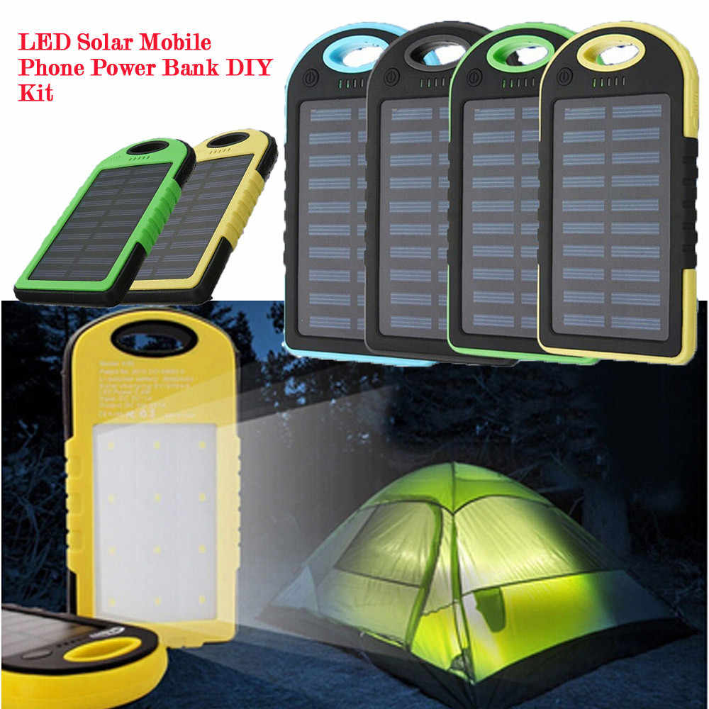LED Outdoor Travel Dual USB Solar Mobile Phone Power Bank Case Charger DIY Kit For Mobile Phone For Computer #20