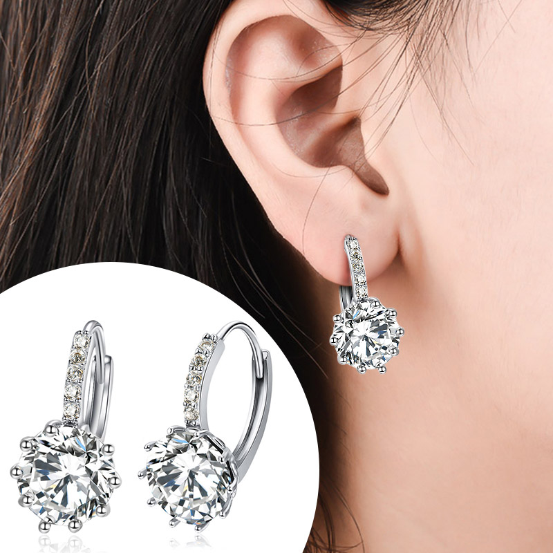 POXAM Luxury Design 2019 Stud Earrings Silver Color Crystal Zircon Huggie Earrings For Women 2019 Female Brincos Fashion Jewelry