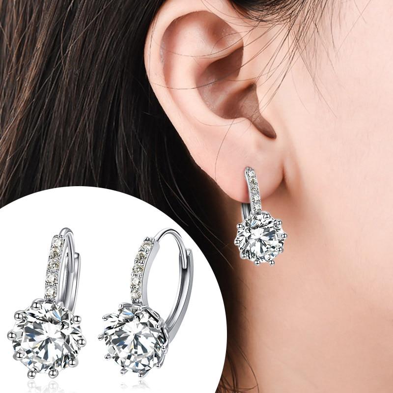 POXAM Luxury Design 2019 Stud Earrings Silver Color Crystal Zircon Huggie Earrings For Women 2019 Female Brincos Fashion Jewelry