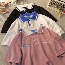 Camisa polo t para as mulheres bonito impressão de algodão t camisa 2021 verão rosa solto harajuku suor manga curta topo meninas feminino ins 2021
