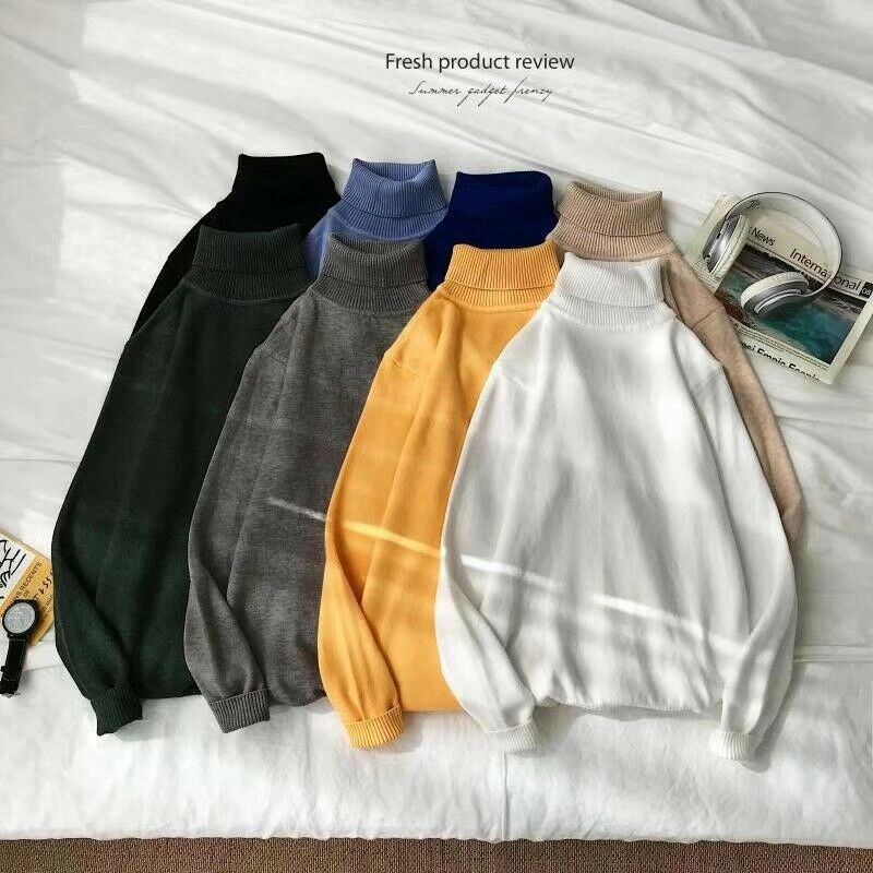 Mens Winter Turtle Neck Solid Turtleneck Sweaters Stretch Tops Men Casual Winter Outerwear Sweaters Mens