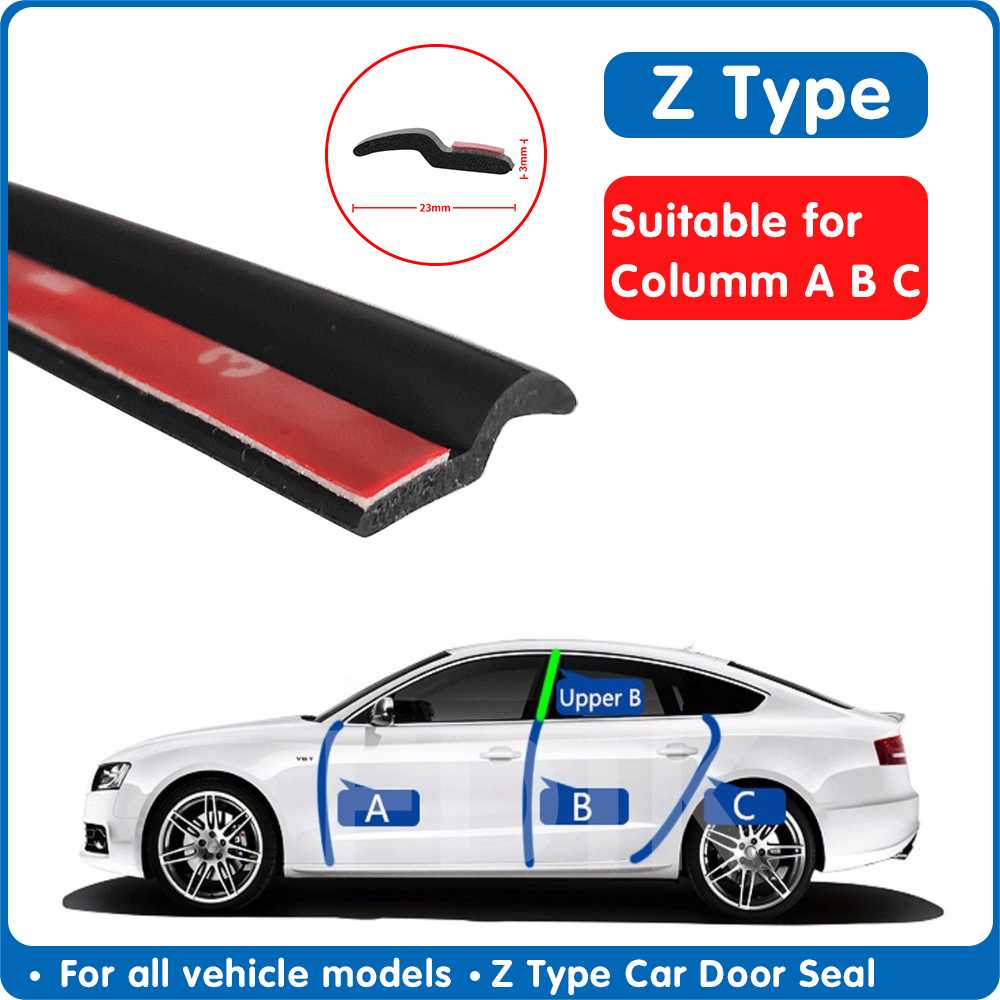 Car Door Seal Noise Insulation Z Type Weatherstrip Sealing Rubber Strip Trim Auto Rubber Seals Z-shaped Seal Accessories