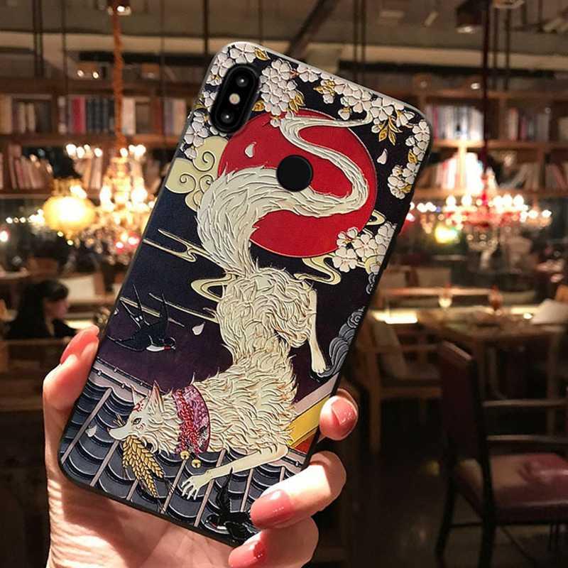 Dla Xiaomi Redmi Note 7 przypadku silikonowy telefon dla Xiaomi Mi 9 8 Se uwaga 3 a2 redmi K20 Pro 6 przypadku 3D Emboss odporny na wstrząsy Relief miękkie