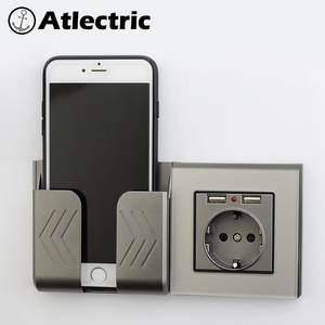 Atlectric Star Silver Glass Panel Power Socket EU Standard With 2100mA Dual USB Charger Port for Mobile Devices 86mm * 86mm