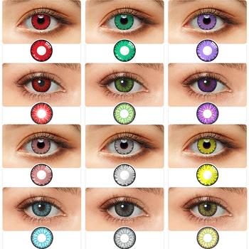 Kolorowe kontakty Cosplay 1 para soczewki kontaktowe czerwony brązowy szary niebieski różowy soczewki do oczu piękno Pupilentes kolorowe szkła kontaktowe soczewki tanie i dobre opinie hidrocor CN (pochodzenie) 14 5 Dwa kawałki 0 06-0 15 mm HEMA Piękna źrenica
