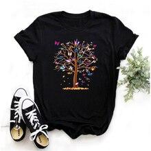 Mayos Summer Women's Butterfly Tree Print Harajuku T-shirt 2020 Fashion Casual Streetwear Women's Clothing T-shirt