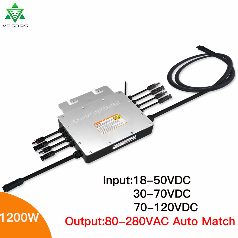 1200W IP65 MPPT Solar Grid Tied Micro Inverter 24V 110V 220V Microinverter Inversor Regulator 50-60Hz For On Grid Solar Systems