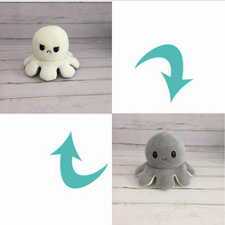 1pc umkehrbar adorável pulpo de pelúcia brinquedos crianças presente duplo-face flip emoção macio algodão recheado brinquedo de pelúcia pieuvre boneca peluches