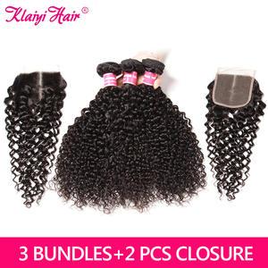 Klaiyi Hair Brazilian Closure with 3-Bundles Human-Hair-Weave-Bundles Free-Middle-Three-Part