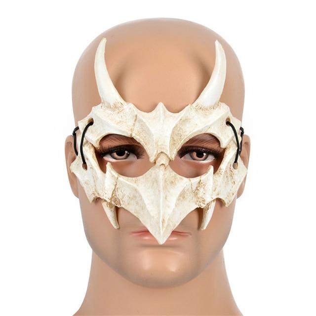 Japanese Dragon God Mask Cosplay PU Tengu Mask White Skull Scary Half Face Mask for Halloween 3