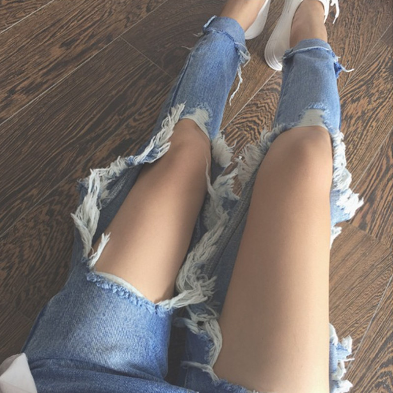 2020 New High Waist Knee Hole Jeans Women Loose Skinny Jeans Womens Clothing  Boyfriend Jeans for Women