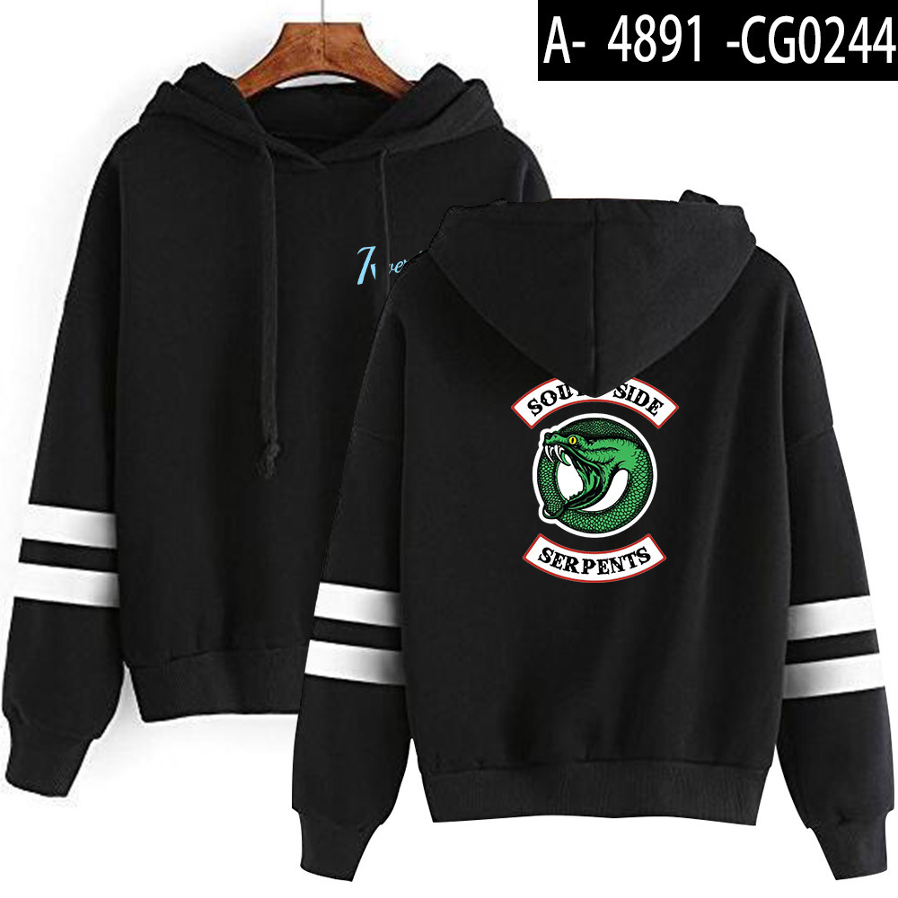 Riverdale Southside Serpents Hoodies Sweatshirts MenS Women South Side Serpents Hoodie Long Sleeve Striped Pullover Top Oversize 23