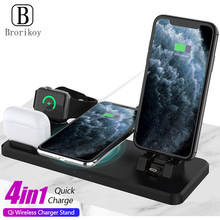 Brorikoy 4in1 Drahtlose Ladestation für iPhone 11 Xr Xs Airpods Pro 2 iWatch 5 4 3 2 15W drahtlose Ladestation für Samsung