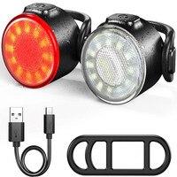 Luz trasera para bicicleta de montaña, luz IPX6 recargable vía USB, resistente al agua, paquete de luces traseras, 6 modos