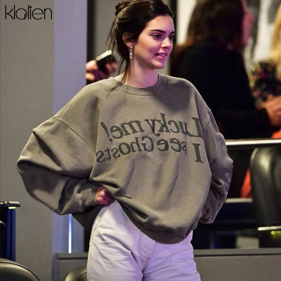 KLALIEN Autumn Retro Leisure Loose Pure Coat Women Hoodie 2019 Fall Winter Fashion Street Casual Basic Printed Pullover Mujer