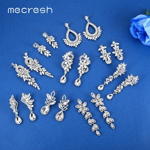 Mecresh Luxury Horse Eye Crystal Bridal Drop Earrings for Women Silver Color Leaf Wedding Dangle Fashion Jewelry EH946