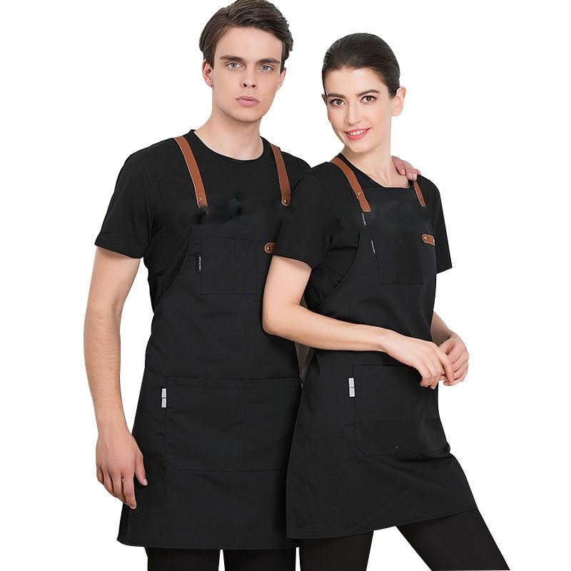 2020 New Fashion Adjustable Work Apron Chef Cooking Kitchen Apron For Woman Man Bib Unisex Waiter BBQ  Hairdresser Work Uniform