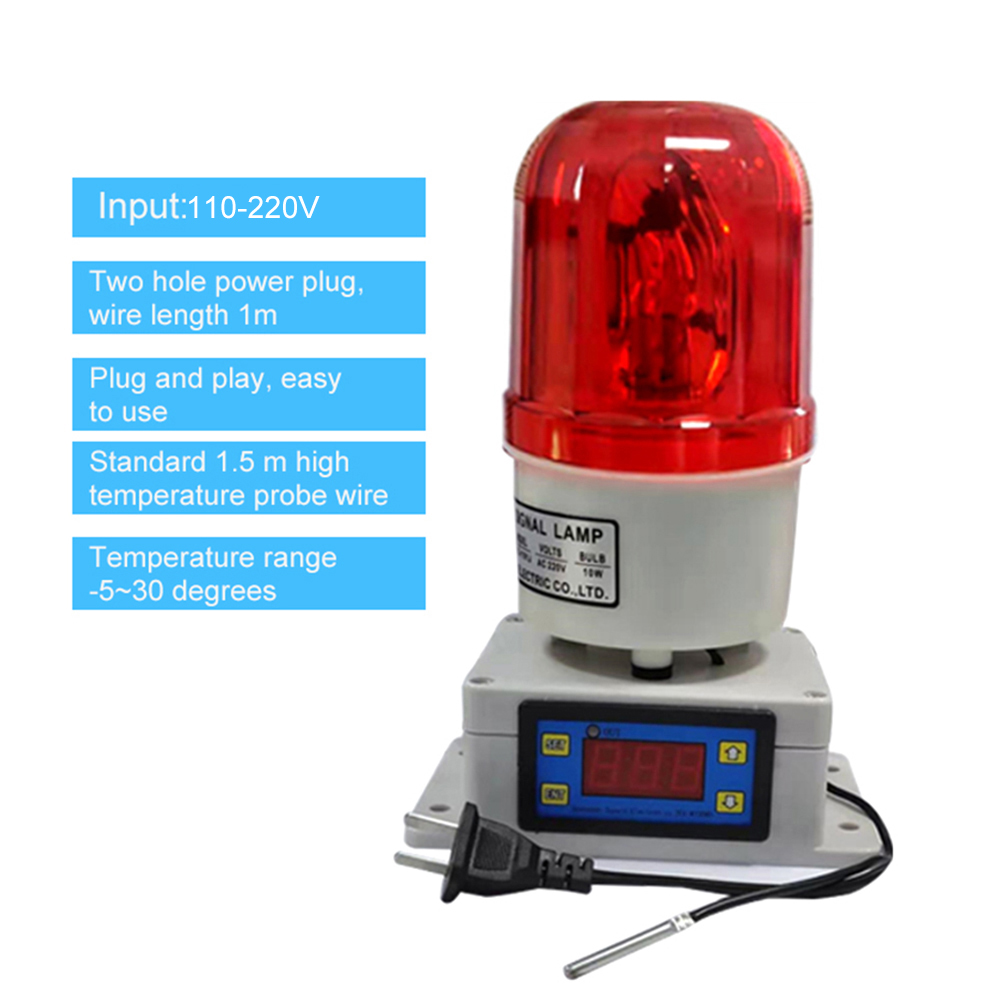 Temperature Alarm Thermostat Machine Room Farm Oven Temperature High Decibel Alarm LEDs Sound And Light Integrated