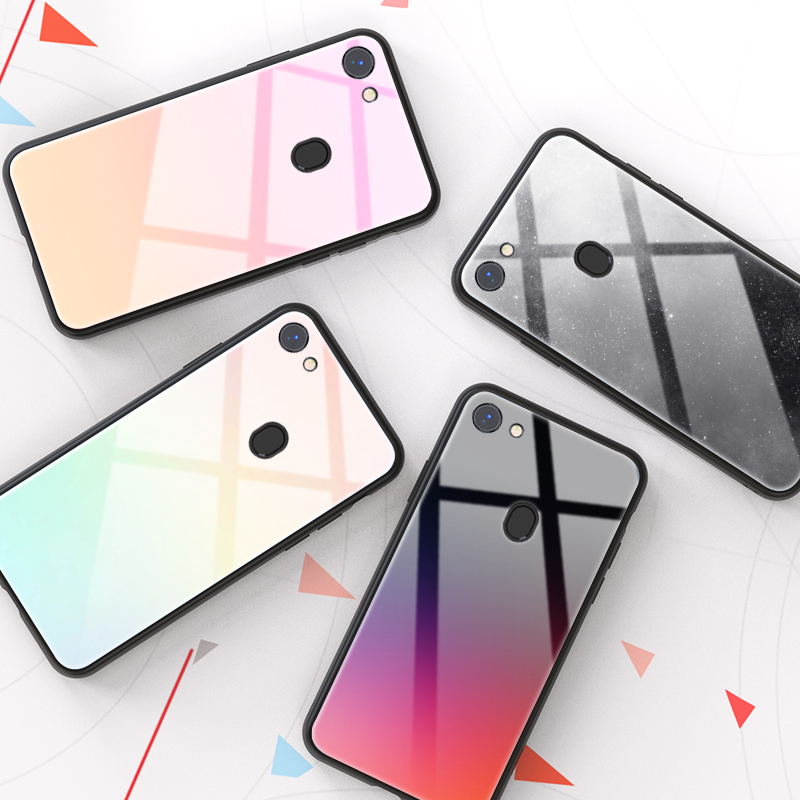 Tempered <font><b>Glass</b></font> Phone <font><b>Case</b></font> For <font><b>OPPO</b></font> F5 F1s F9 Pro <font><b>A3s</b></font> A5s A7X A79 A75 A59 A57 A39 A85 A1 A3 A5 A7 Luxury Gradient Back Cover image