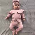 Комбинезон для новорожденных девочек, однотонный комбинезон с оборками и бантом, штаны, Одежда для новорожденных
