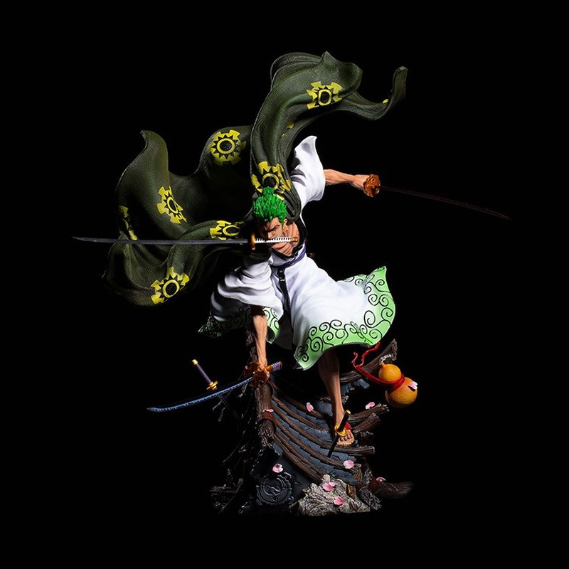 Japanese Anime Limited Figure Action One Piece OP GK Lava Roronoa Zoro Statue Art Collectable Best Gifts image