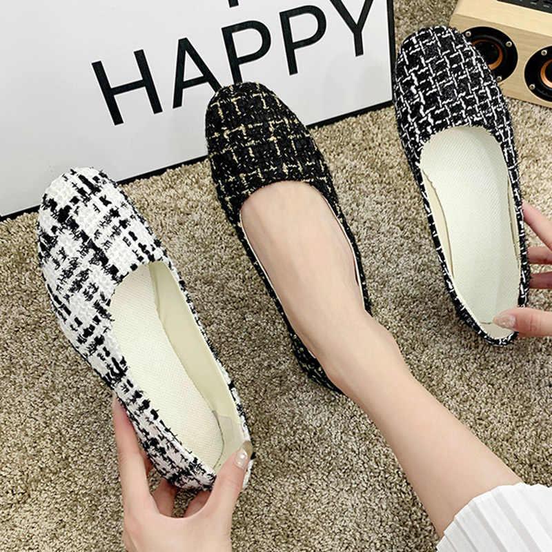 בתוספת גודל 35-43 מוקסינים אישה כיכר הבוהן להחליק על שטוח נעלי נשים דירות משובץ רדוד נעלי שמלת נעליים zapatos mujer 4243L