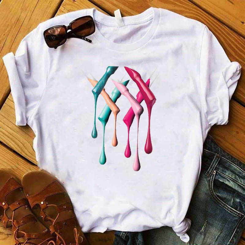 Kadın T bayan grafik 3D tırnak boya renk moda sevimli baskılı Top Tshirt dişi T parça gömlek bayanlar giysi T-shirt