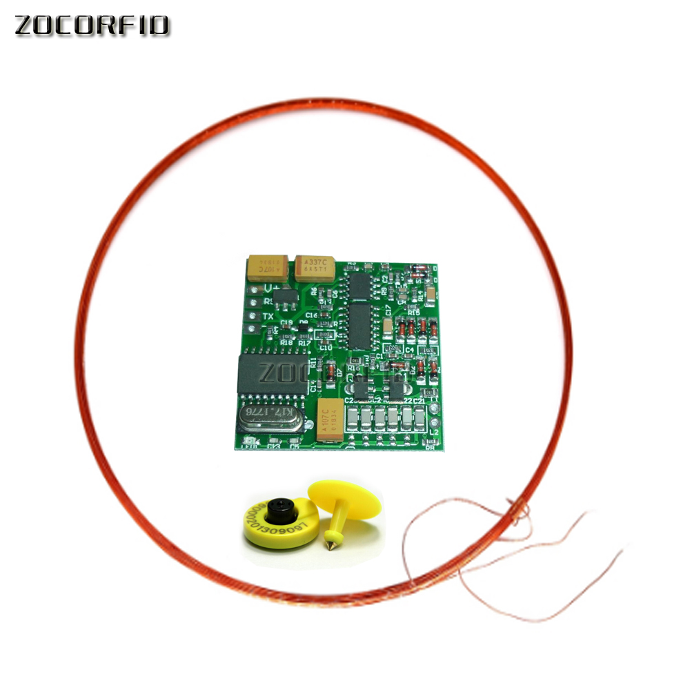 125KHZ 134.2K Animal Tag Reader Module TTL Output AGV RFID FX-B ISO11784 Long Distance+2 Tags