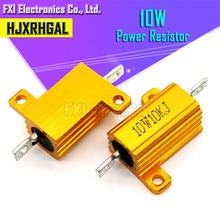 2pcs 10W Alumínio Shell Power Metal Caso Wirewound Resistor 0.1 ~ 10K 0.5 1 2 3 5 6 8 10 20 100 150 200 300 500 K 5 1K ohm