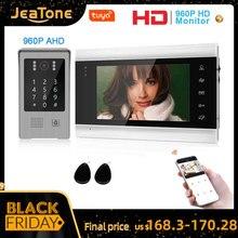 Jeatone 960P Tuya WiFi ip телефон для видеодомофона с кодовой клавиатурой/rfid картой/приложением, разблокировка, обнаружение движения, комплекты контроля доступа