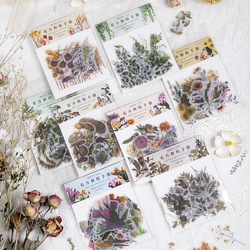 40pcs/pack Cute Washi Paper Stationery Sticker Set Forest Flower Mushroom Decoration Label For Scrapbooking Diary Book Planner