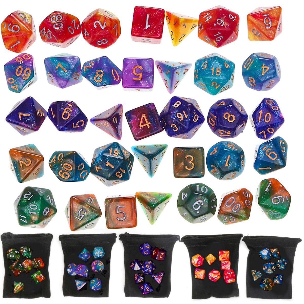 35 шт./компл. Набор кубиков из полигедрала с черной сумкой для хранения для игр D20 D12 D10 D8 D6 D4