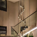 Black Cone Tube LED Chandelier Dining Room Staircase Adjustable Pendant Lamp Kitchen Island Modern Creative Long Hanging Light