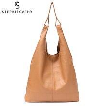 SC duże skórzane torby na ramię dla kobiet przyczynowe Vintage miękkie oryginalne skórzane torebki torba z wkładami Hobo kobieta codzienna torba na ramię na zakupy