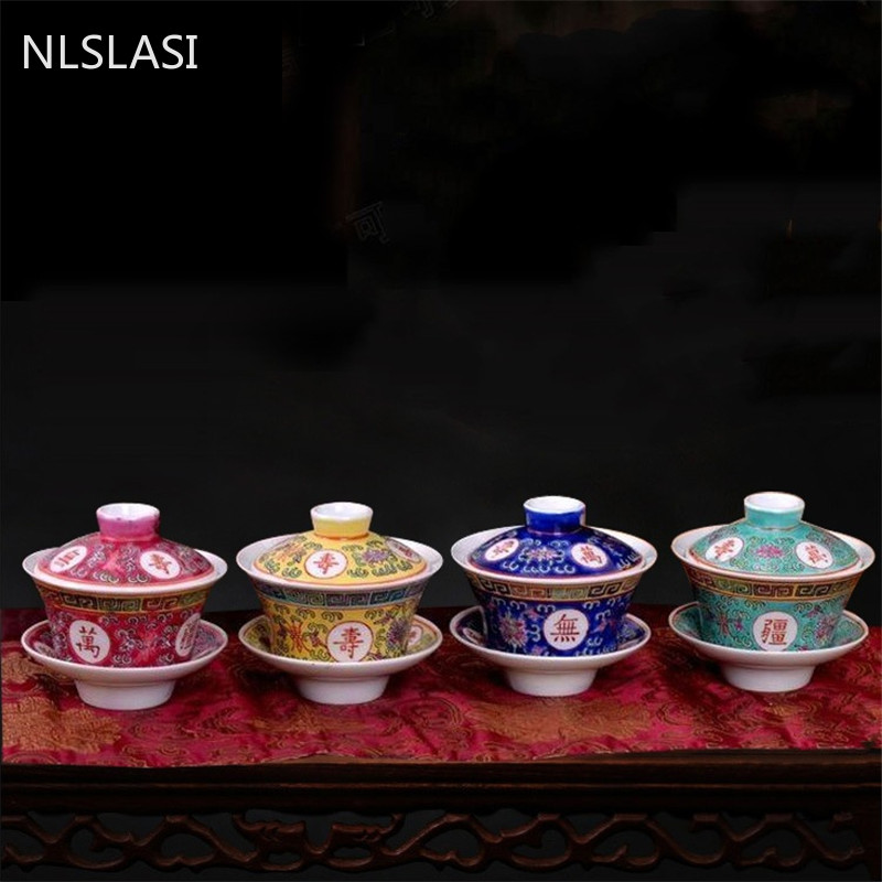 NLSLASI  Jingdezhen Porcelain Gaiwan Exquisite Pastel Tea Bowl with Saucer Lid Kit Master Cup Teaware Drinkware 150ml