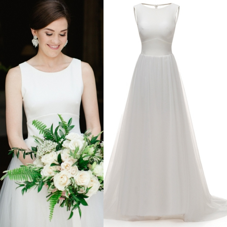 Illusion Back Tulle Sleeveless A Line Sleeveless Classic Simple Wedding Dress