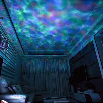 ZK20 Dropship Ocean Wave Projector 7 Colorful Remote Control TFCeiling Mood Lamp With Bulit-in Speaker Music Player Night Light