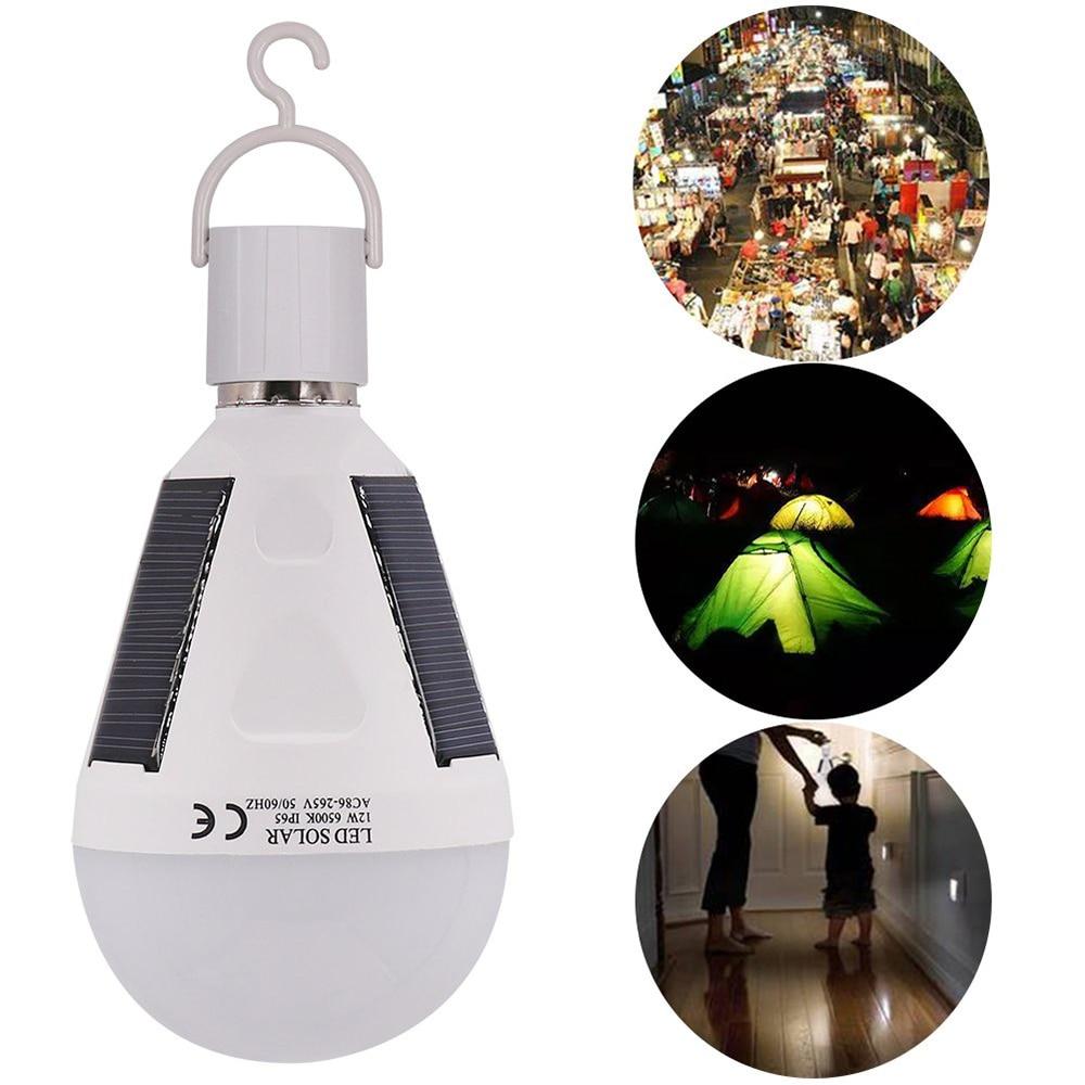 Solar Powered 7W 12W 85V-265V Led Bulb E27 LED Solar Lamp Waterproof Outdoor Emergency Bulb Travel Fishing Camping Hiking Light
