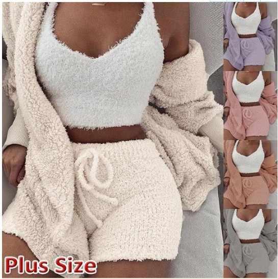 Lã de malha 3 peça conjunto curto macacão & macacão feminino outono macio quente sexy playsuit inverno feminino plus size clube macacão