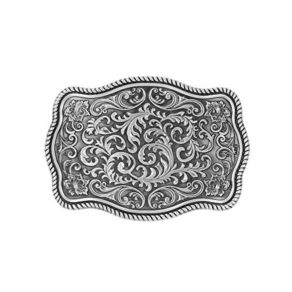 Vintage Flower Rectangle Belt  Buckle For Man Western Cowboy Buckle Without Belt Custom Alloy Width 4cm