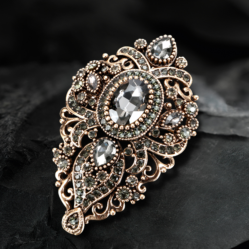 Kinel 2020 Fashion Vintage Gray Crystal Women Brooch Pin Gold Plating Arabesque Rhinestone Turkish Brooch Lapel Scarf Broches