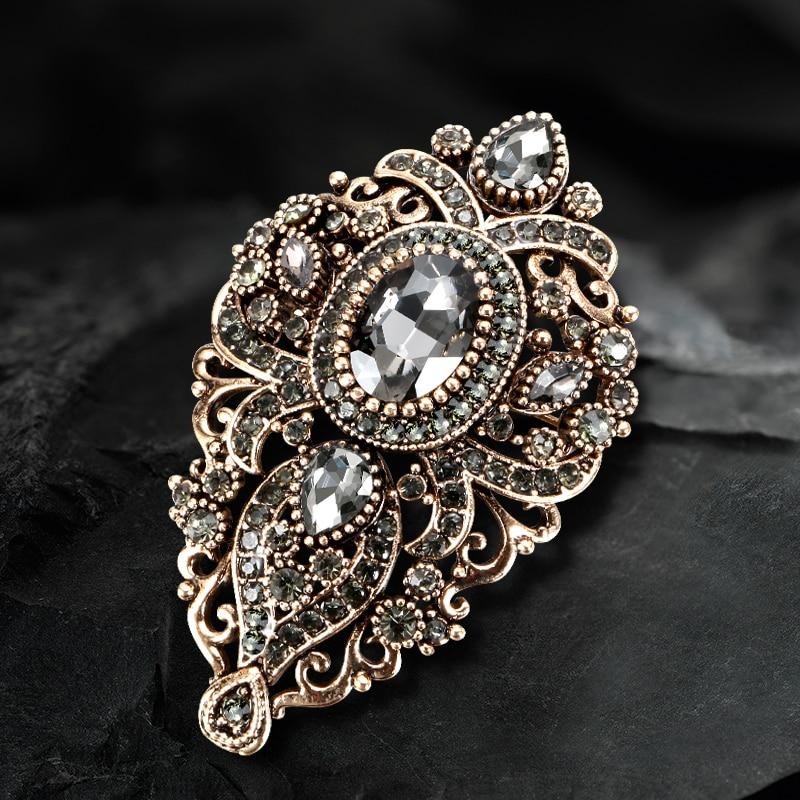 Kinel 2020 Fashion Vintage Gray Crystal Women Brooch Pin Gold Plating Arabesque Rhinestone Turkish Brooch Lapel Scarf Broches