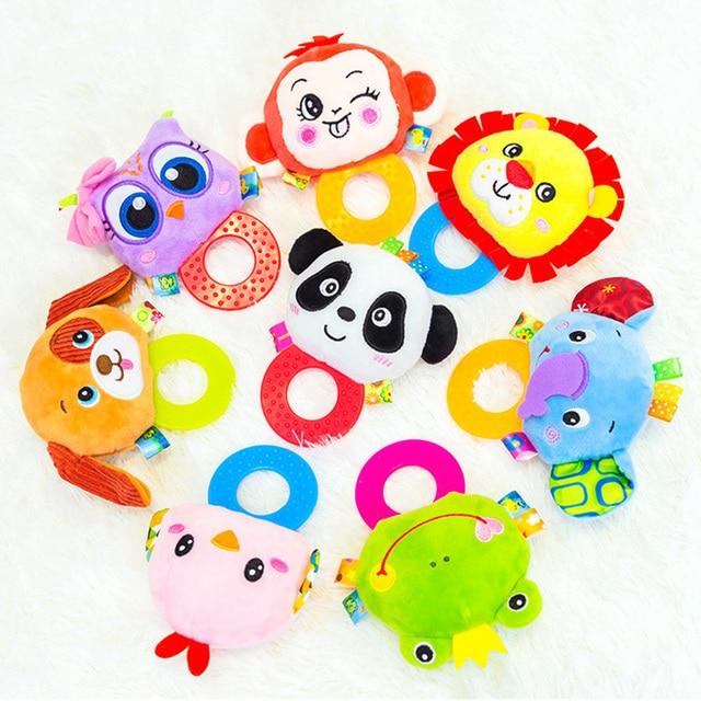 Animaux main cloches anneau de dentition hochet poupée en peluche bébé hochets jouets infantile Newbron éducation précoce jouets singe Panda Lion chien