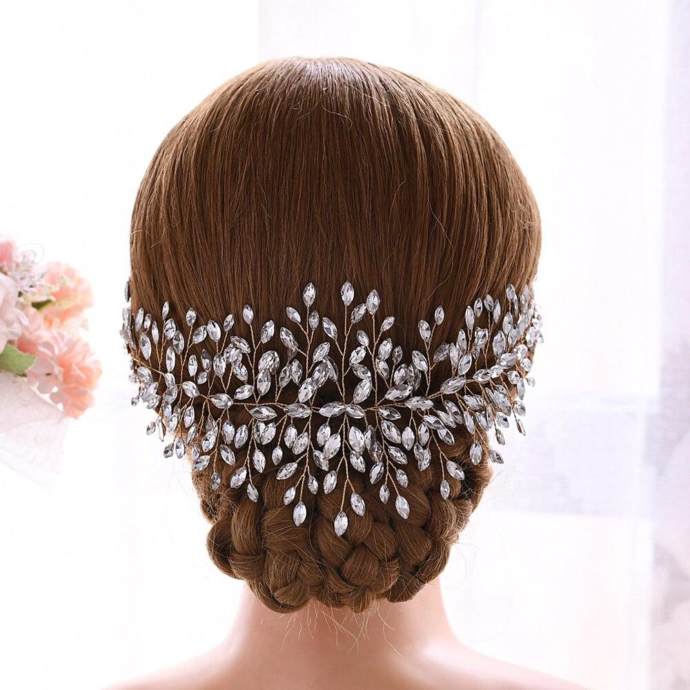 TRiXY H237-G Golden Bride hair vine wedding tiara headpiece rhinestone crystal bridal headdress wedding headpieces women jewelry