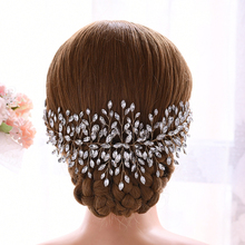 TRiXY H237-G Golden Bride hair vine wedding tiara headpiece rhinestone crystal bridal headdress headpieces women jewelry