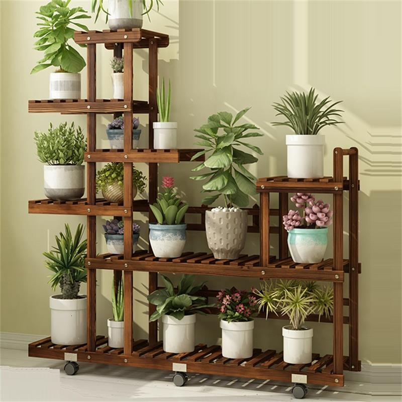 Para Flores Pot Escalera Decorativa Madera Etagere Plante Indoor Terraza Outdoor Stand Balcony Flower Dekoration Plant Shelf