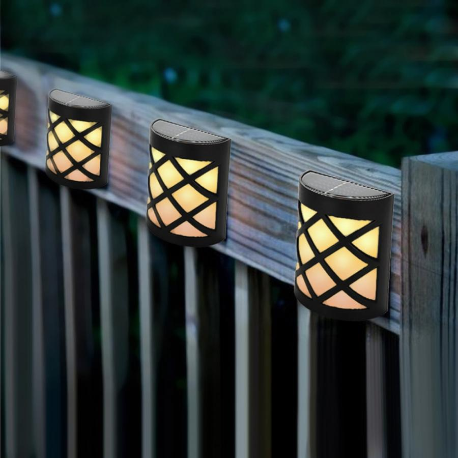 4pcs Waterproof Solar Power LED Light Wall mounted Lamp for Garden Path Courtyard Fence LED Lamp in Solar Lamps from Lights Lighting