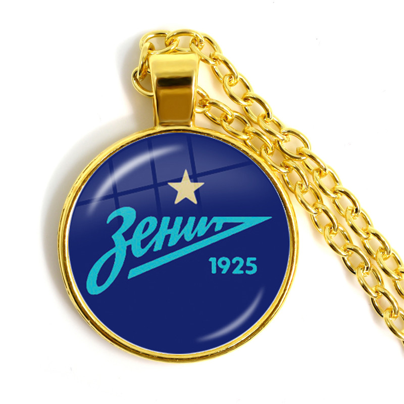 Necklace Soccer-Club Football Saint Glass-Cabochon Golden-Plated-Pendant Zenit Gift